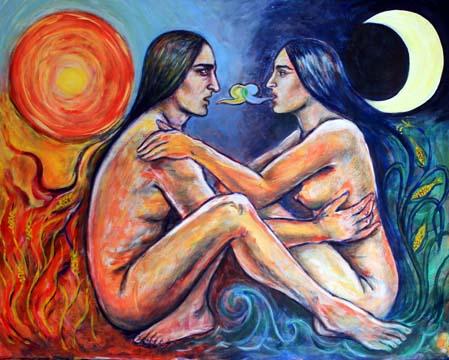 Der zweigeschlechliche und hoechste Gott der Azteken dargestellt als kommunizierendes Liebespaar, das die mexikanische Welt des Mondes und des Mais mit der deutschen Welt der Sonne und des Weizens verbindet.