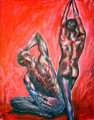 Akte eines auf dem Boden sitzenden Mannes (Minos) und einer stehenden Frau (Pasiphae) mit nach oben gerichteten Armen.