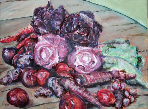 Kartoffeln, Karotten, Pflaumen, Zwiebeln und Kohl, Acryl auf Baumwolle, 40 cm x 30 cm, 2019