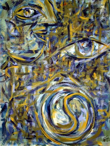 expressives Bild zwischen figurativer und abstrakter Malerei, auf dem ein Gesicht im Profil, ein Auge, das Symbol von Yin und Yang sowie einzelnen Buchstaben und Worte zu erkennen sind.