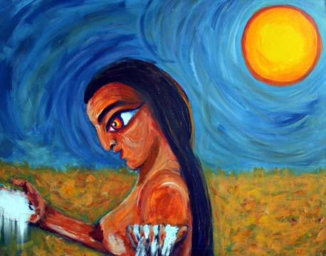 21 Das Salz der Erde, Uixtocihuatl (Göttin des Salzes), Acryl auf Baumwolle, 80 x 100 cm, 2010 - 1000 Euro