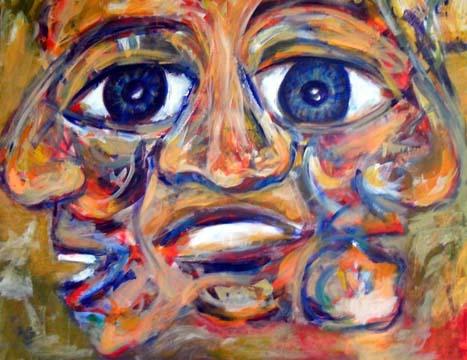 22 Drei, Acryl auf Baumwolle, 100 x 80 cm, 2010 - 900 Euro