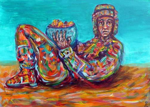 Chac Mool, Acryl auf Holz, 42 x 30 cm, 2012