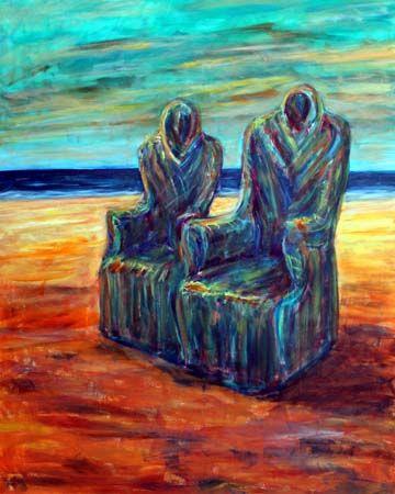 Surreales Gemälde von zwei Sesseln am Meeresstrand, die wie menschlichen Wesen erscheinen.