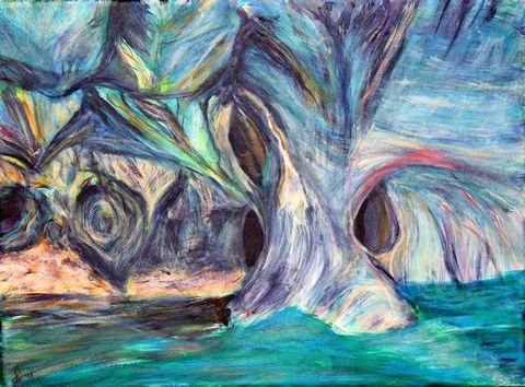 53 Marmorhöhle, Acryl auf Baumwolle, 40 cm x 30 cm, 2017 - 300 Euro