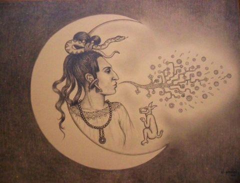 Ixchel, von Jennifer Jennsel, Bleistift auf Papier, 50 cm x 35 cm, 2012