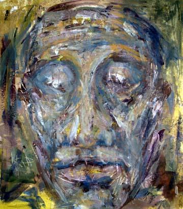 Das Abbild des Koenigs Priamos erscheint wie eine Totenmaske und nimmt das Schicksal Trojas vorweg, das mit seinem eigenen Tod verbunden ist.