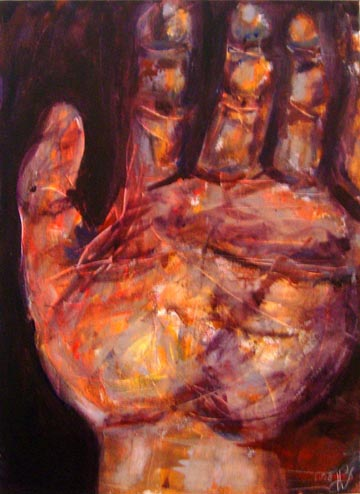 offen, rote Hand