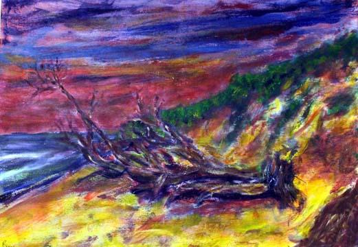 68 Waldreste am Meer, Acryl auf Holz, 42 x 30 cm, 2012 - 450 Euro