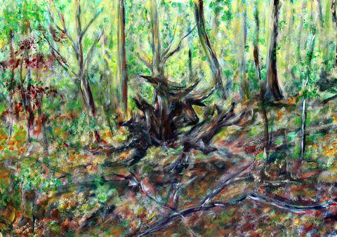 56 Minotaurus im Wald Acryl auf Baumwolle 70 cm x 50 cm, 2018 - 1000 Euro
