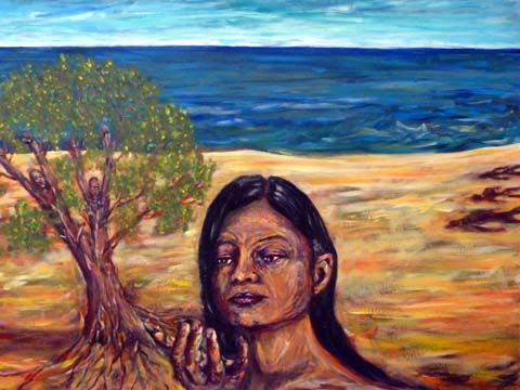 57 Mutter Erde empfängt Ask und Embla, Acryl auf Baumwolle, 100 x 80 cm, 2011 - 1200 Euro