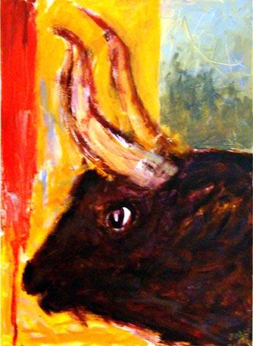 """Stierkopf vor farbigem Hintergrund. Der Bildtitel """"Am Nachmittag um fünf Uhr bezieht sich auf ein Gedicht von Federico Garcia Lorca, der vom Tod eines befreundeten Toreros handelt. Der Stierkopf symbolisiert auch den Kopf des Minotaurus."""