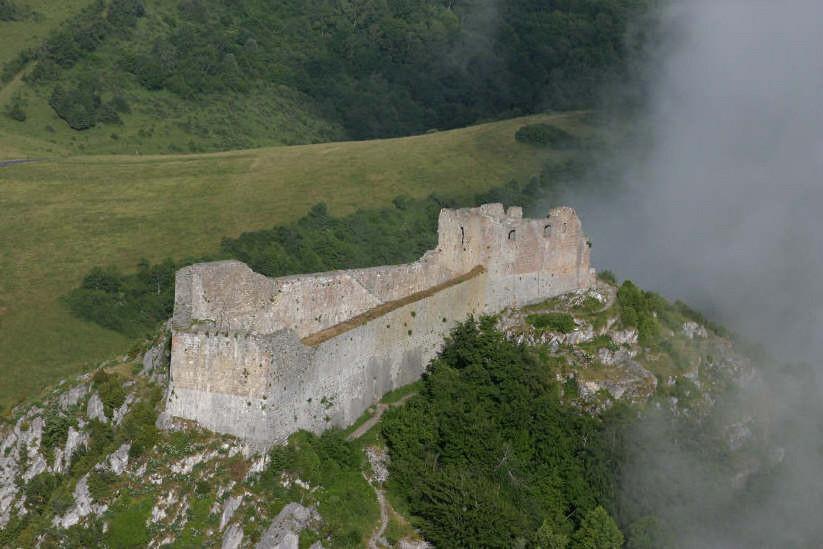 Château de Montségur - Photo Aimé Quérol (en ULM) - © Taxis Audabram