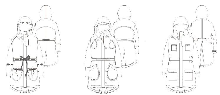 Winter Parka Technische Zeichnungen mit Varianten