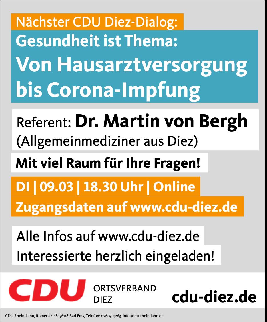 Stellen Sie Ihre Fragen: Von Hausarztversorgung bis Corona-Impfung - CDU Diez-Dialog geht in die nächste Runde - Dr. Martin von Bergh referiert am 09.03. 18.30