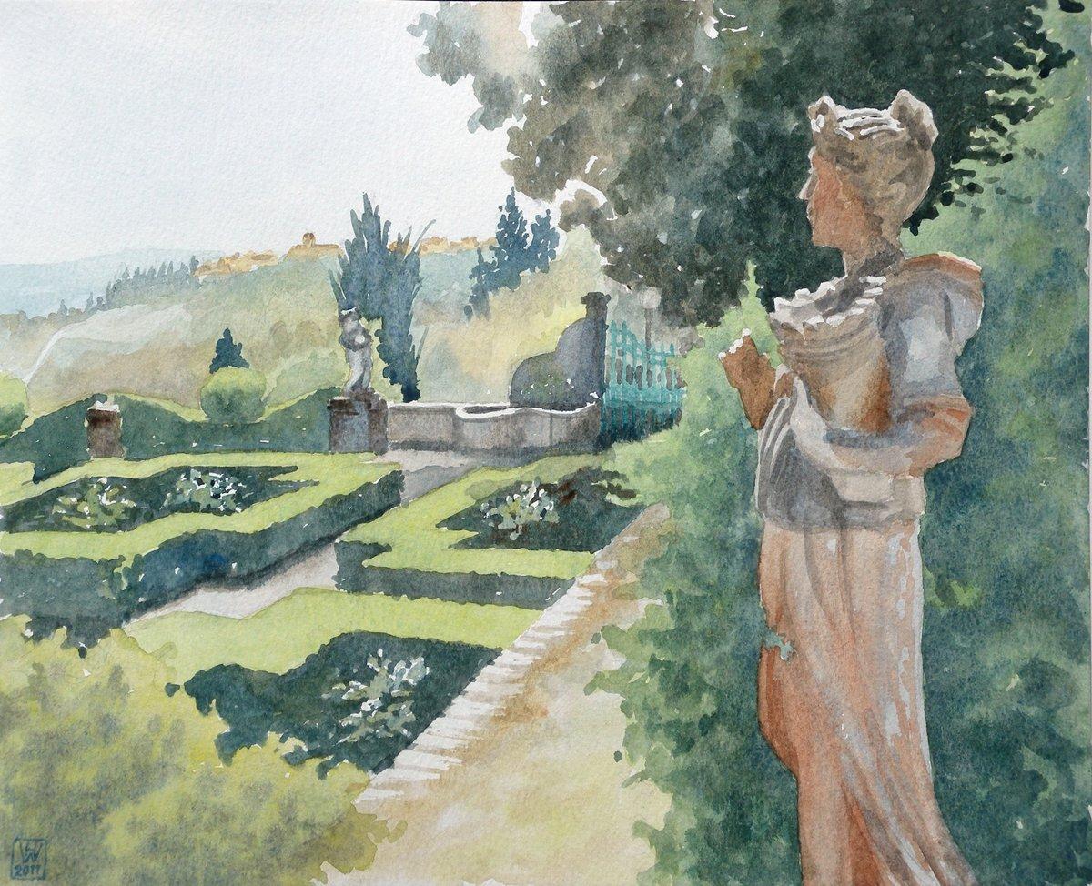 Villa di Meleto, Castelfiorentino, Toskana - Aus dem Toskana-Aquarellbuch  27,5x34 cm  NFS