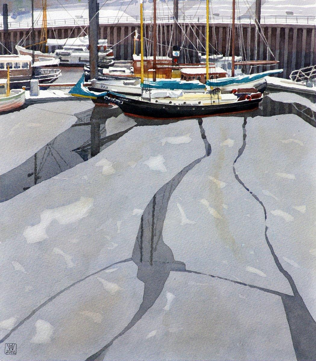 Winter im Vegesacker Hafen - Aquarell 41x36 cm