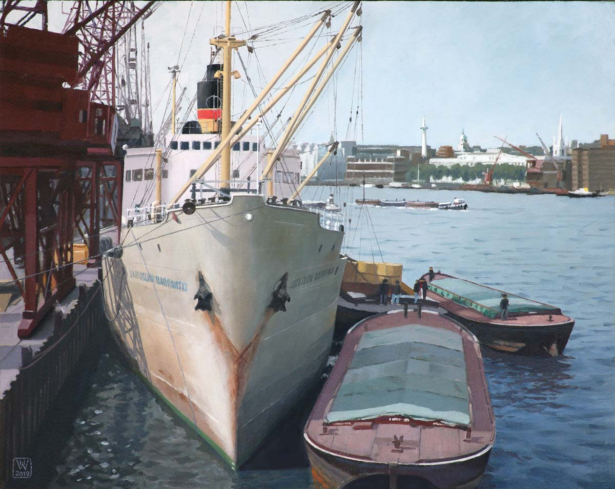 Upper Pool, London 1966  -  Öl auf Malplatte  36x46 cm  NFS