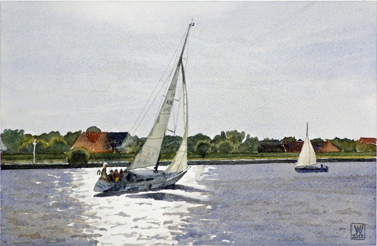 Heimwärts, Segler auf der Unterweser - Aquarell  20x30,5 cm  NFS