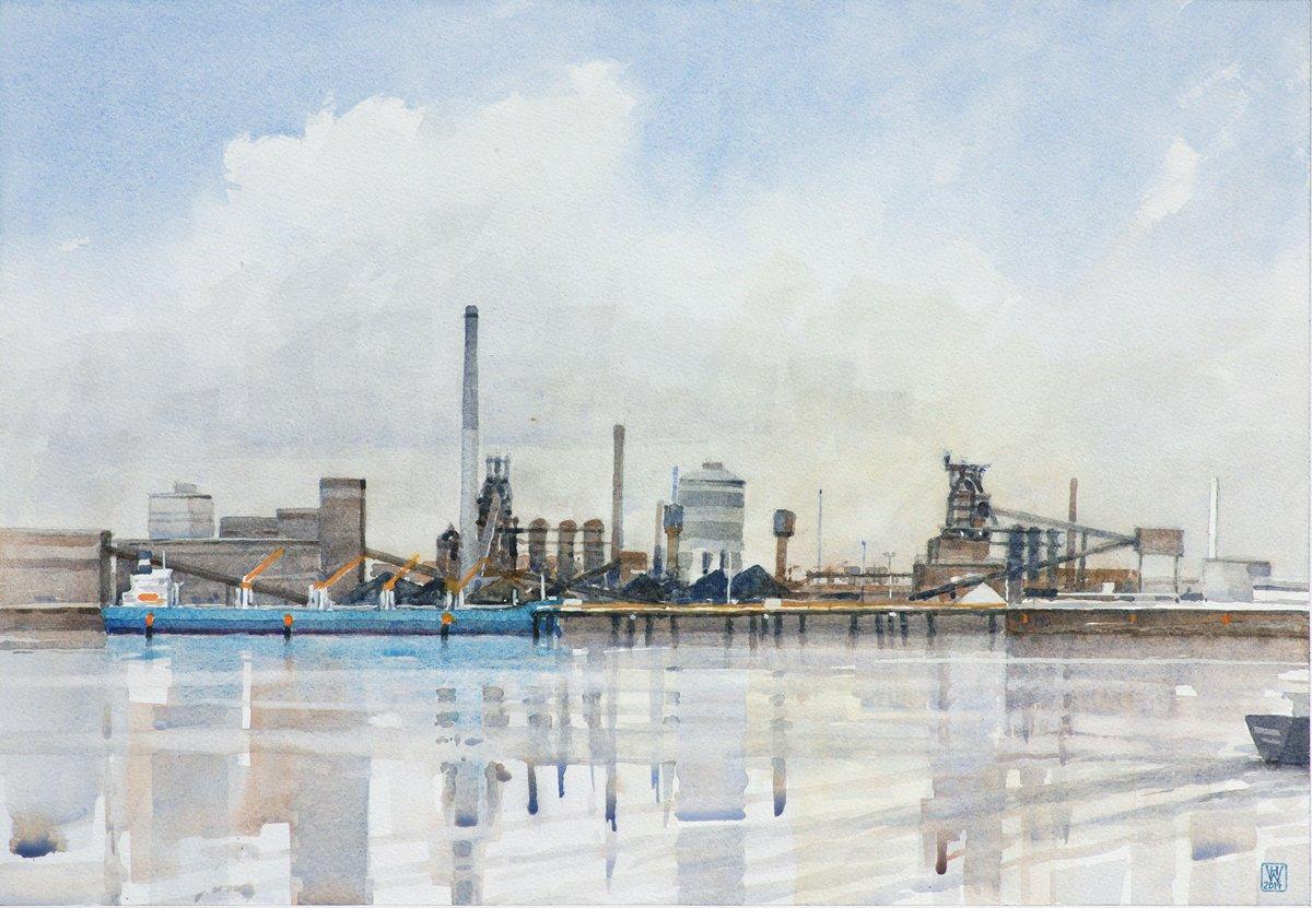 Stahlwerk am Fluss, Bremen - Aquarell  45x65 cm