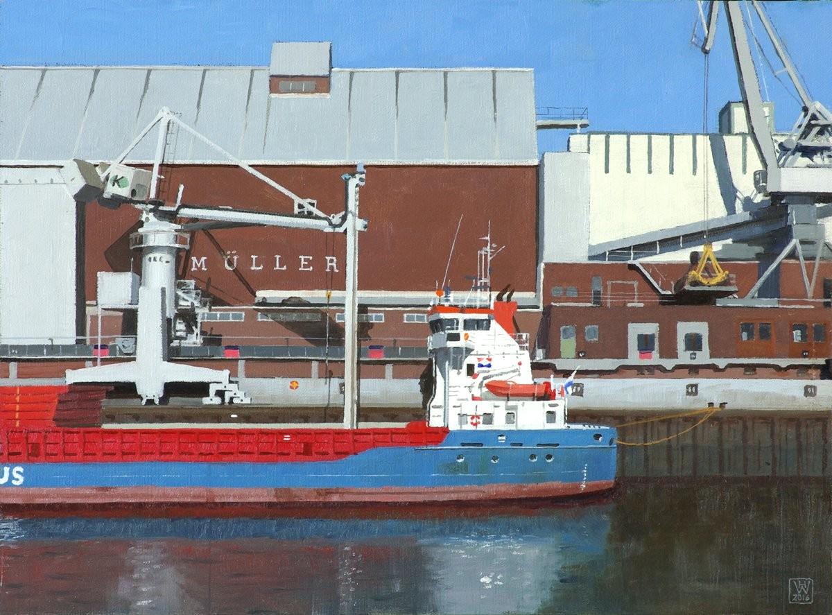 Bremen, Holz- und Fabrikenhafen, Getreideumschlag - Öl auf Malplatte 27,5x37,5 cm