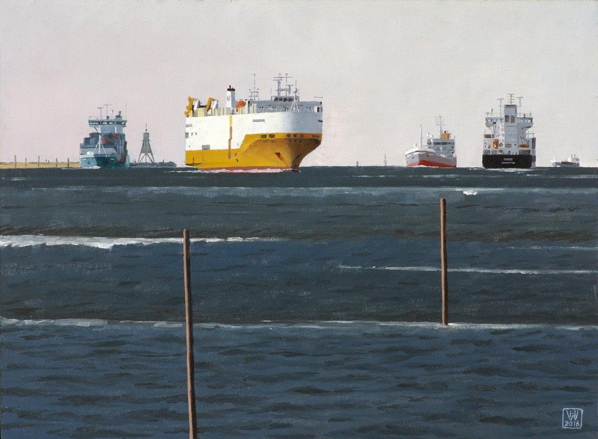 Ein Kommen und Gehen II: Die Unterelbe bei Cuxhaven - Öl auf Malplatte  27,5x37,5 cm