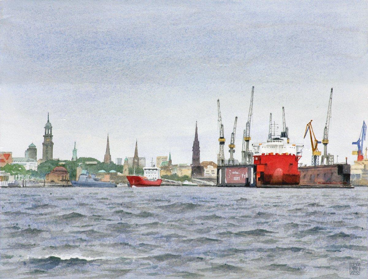 Hamburger Hafenpanorama: Kirchen und Krane - Aquarell  33x43 cm