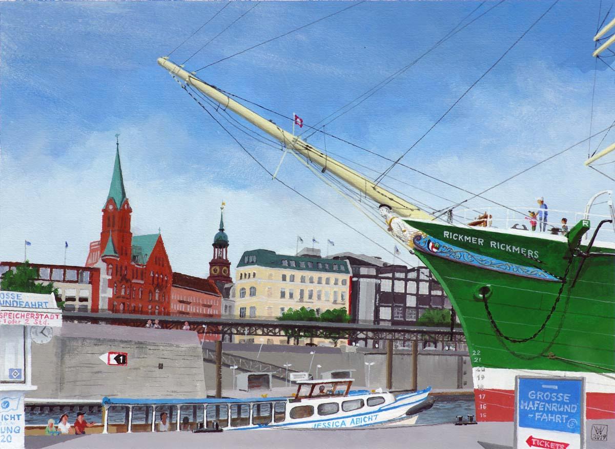 Hamburg, Große Hafenrundfahrt  -  Acryl auf Karton  32x43 cm NFS