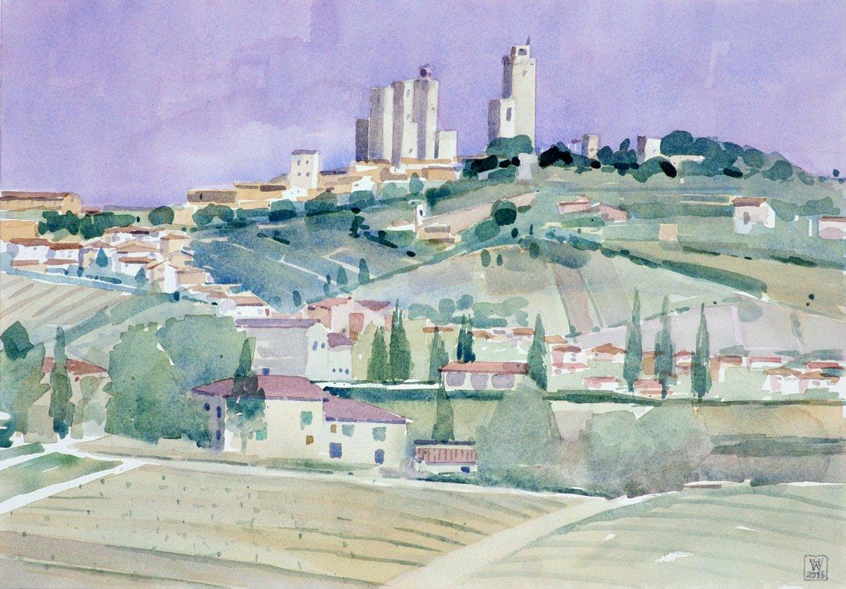 San Gimignano, Toskana - Aquarell  35x50 cm