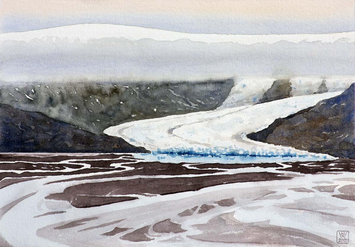 Gletscher und Sander, Südisland - Aquarell  32x46 cm  NFS