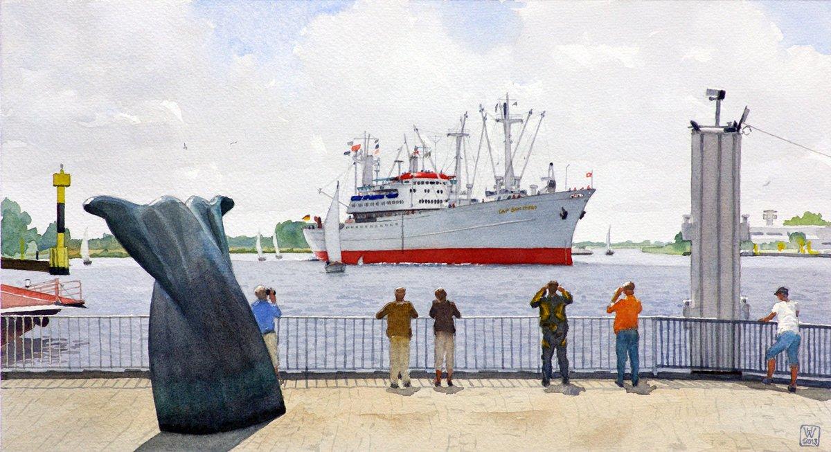CAP SAN DIEGO in der Vegesacker Kurve - Aquarell  27x50 cm  NFS