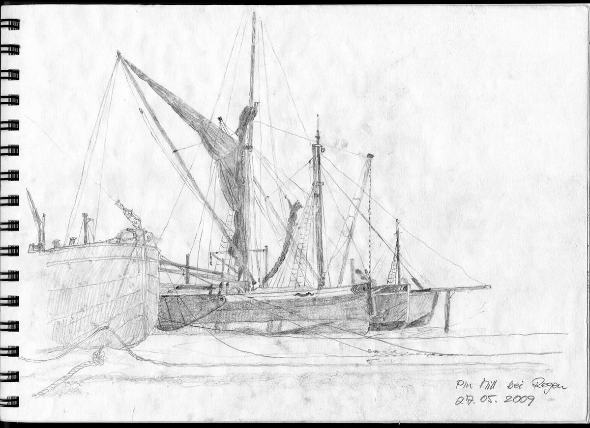Pin Mill bei Regen, Suffolk (England) - Aus Skizzenbuch  21x28,5 cm  NFS