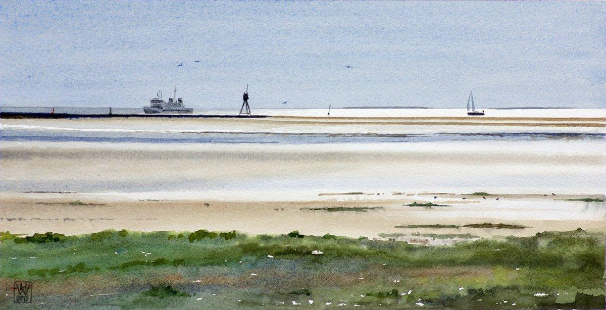 Insel Borkum, Einlaufen in den Hafen - Aquarell  24x48 cm