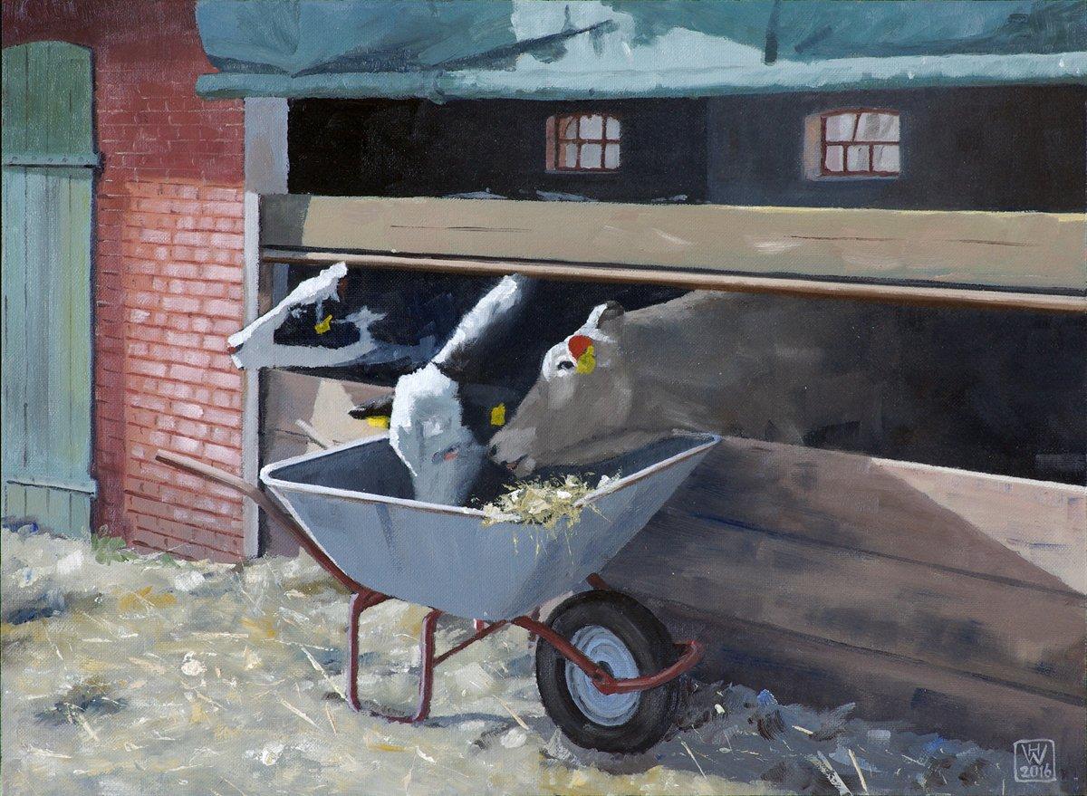 Rinderfütterung - Öl auf Malplatte 27,5x37,5 cm