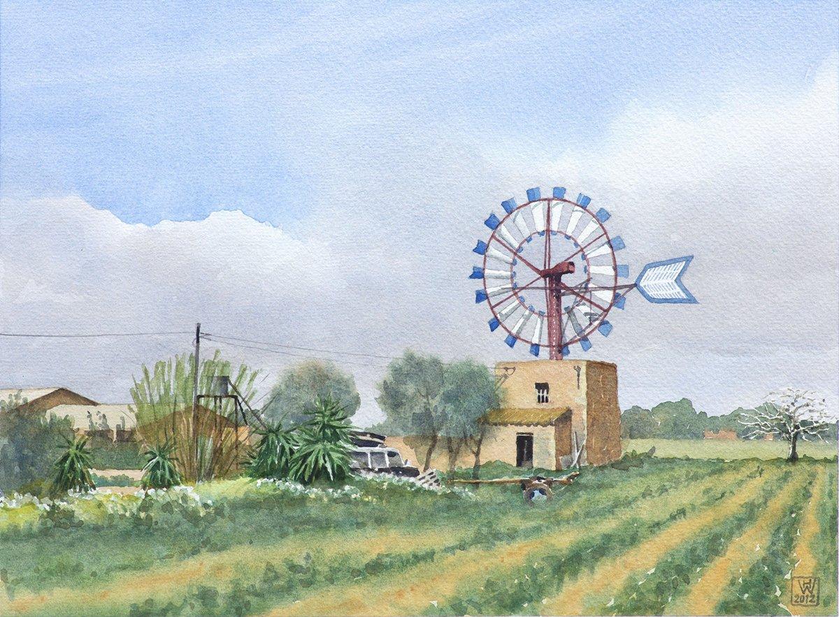 Finca mit Mühle bei Campos, Mallorca - Aquarell  32x44 cm