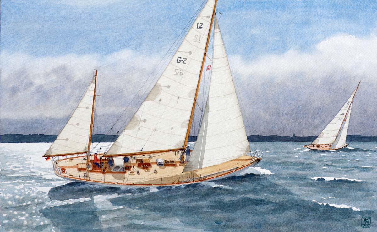 Segelyacht ANITA - Regatta in dänischen Gewässern - Aquarell 34x55 cm  NFS