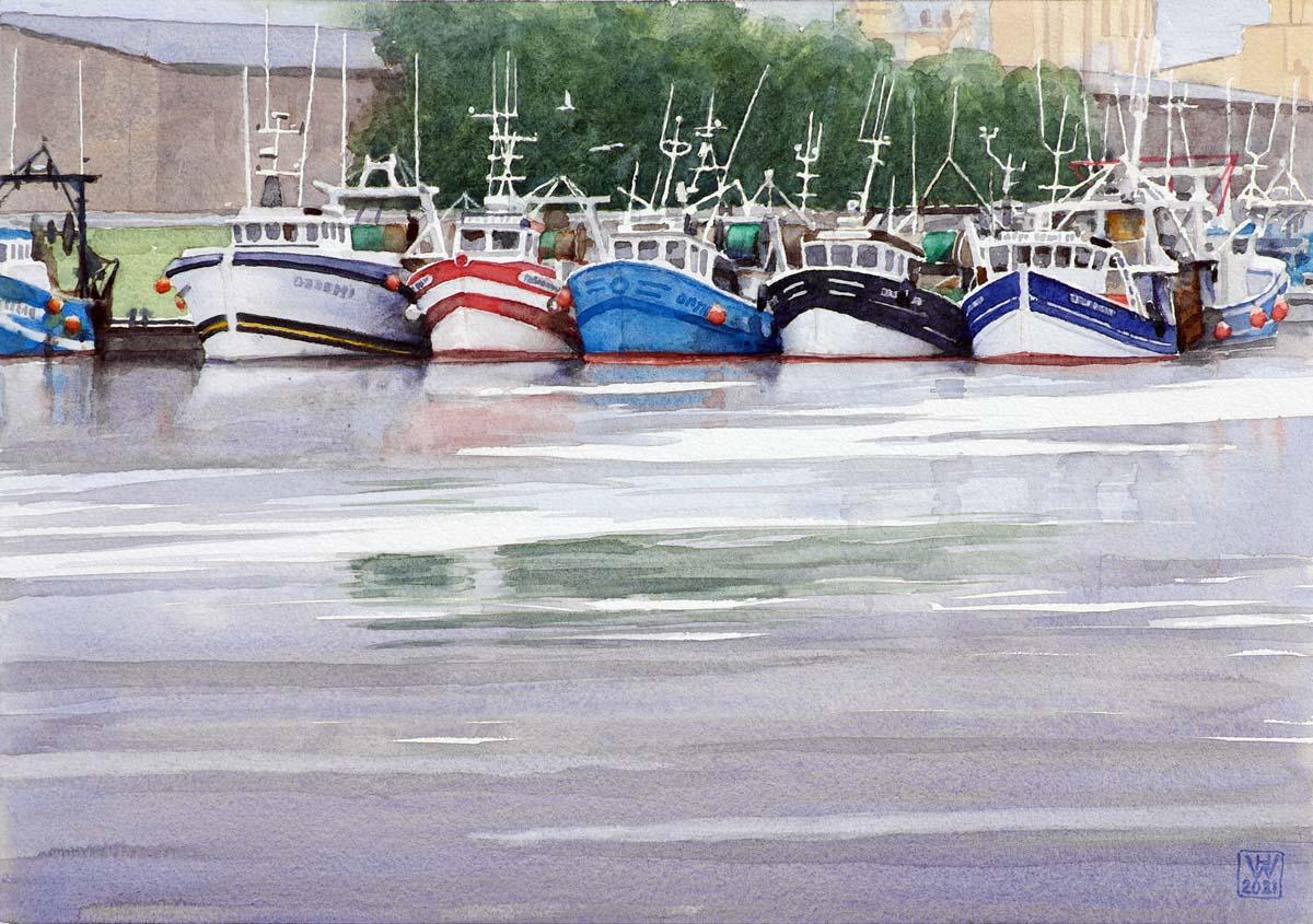 Fischtrawler, Le Tréport, Normandie - Aquarell   30x42 cm  NFS