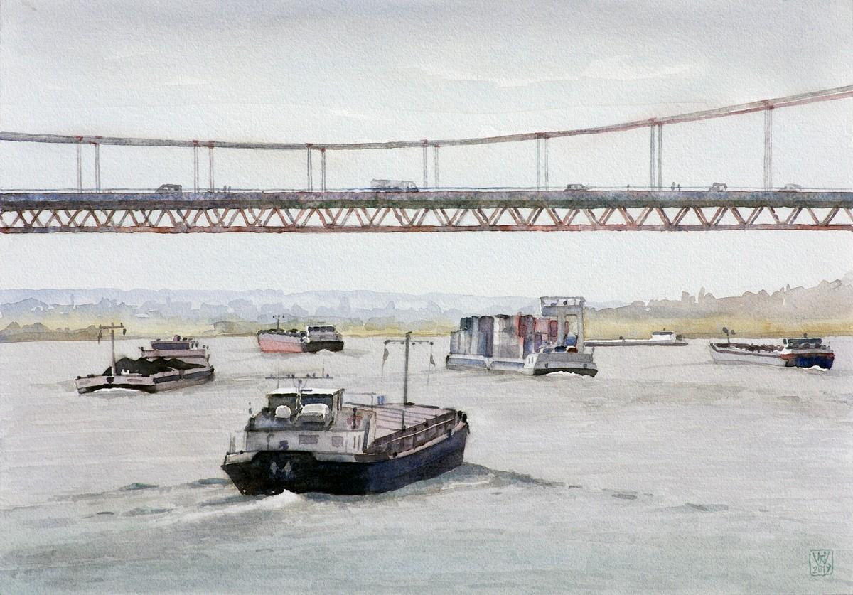 Rheinschifffahrt bei Emmerich (Niederrhein) - Aquarell  35x50 cm