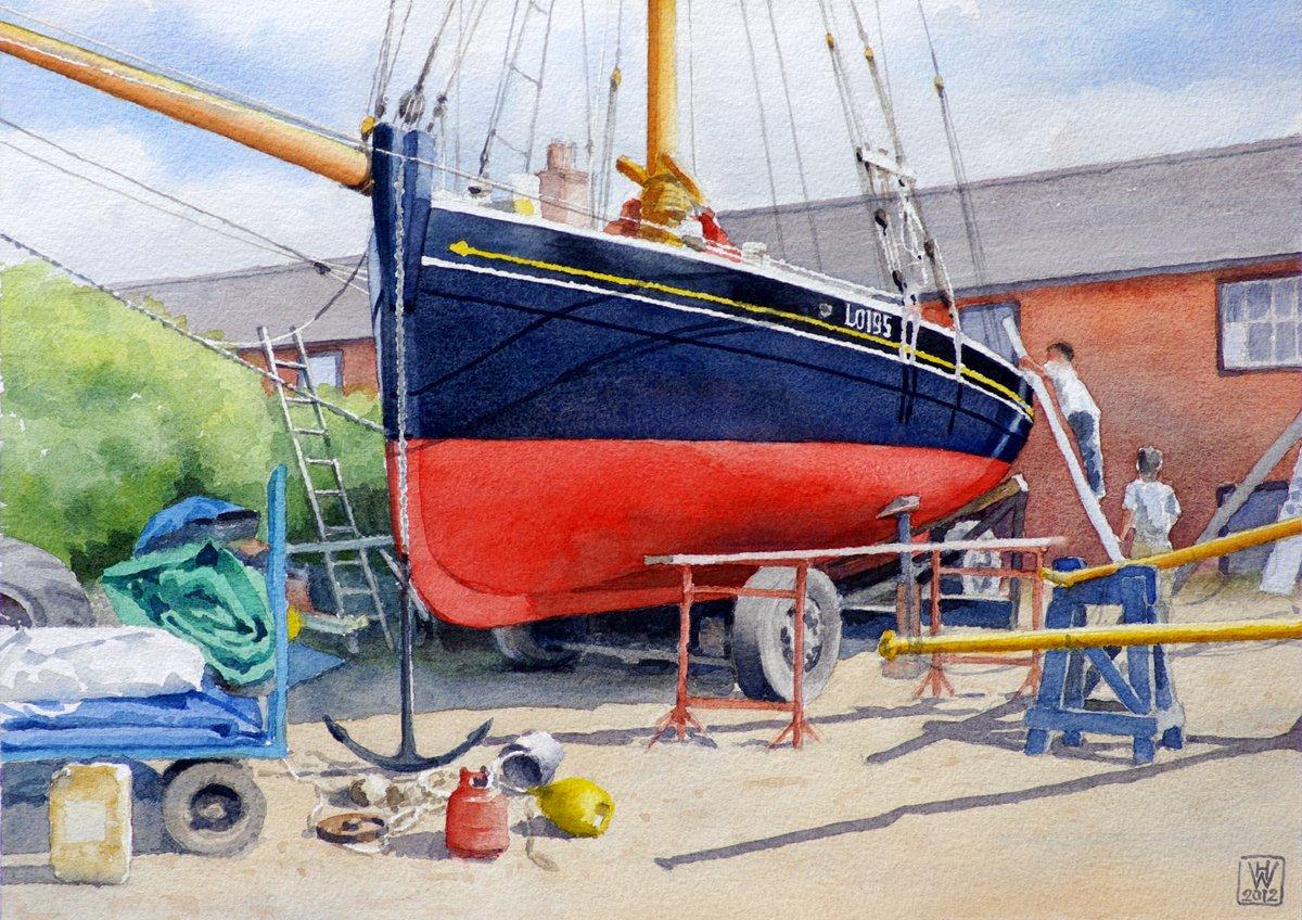 Restaurierung Bawley LO195, Pin Mill, Suffolk (England) - Aquarell  27x38 cm