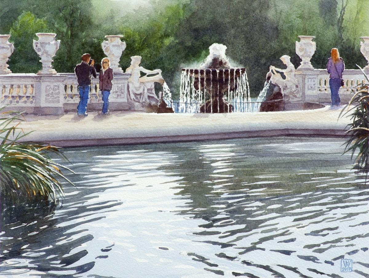 Italian Gardens, Hyde Park, London - Aquarell  33x44 cm
