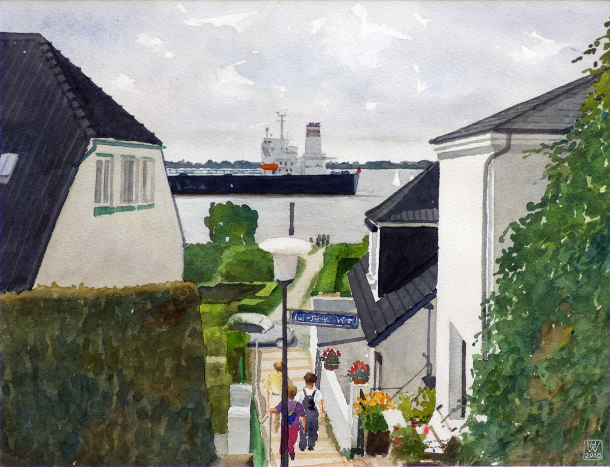 Hamburg-Blankenese, Am Hang I - Aquarell  31x40 cm