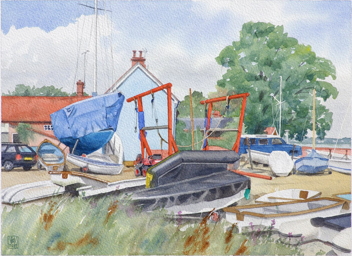 Bootswerft Harry King & Sons Ltd, Pin Mill, Suffolk (England) - Aquarell  32x44 cm
