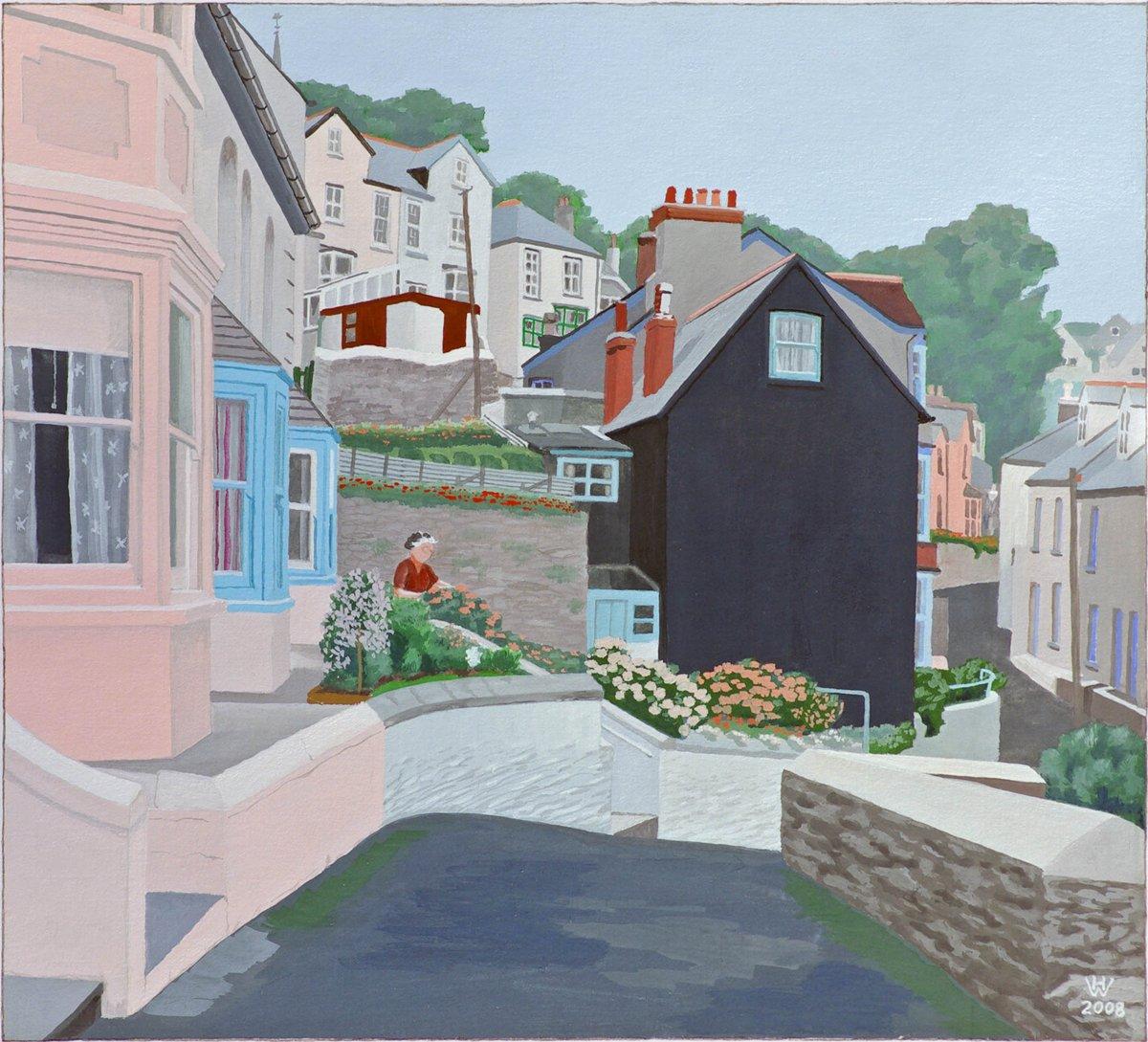 Das schwarze Haus, Fowey, Cornwall - Gouache  29x32 cm (eine fühe Arbeit)  NFS