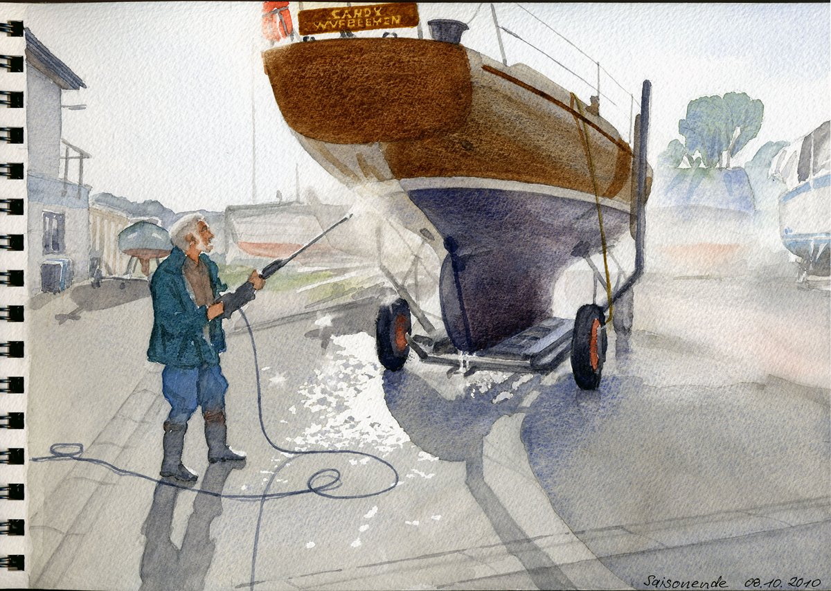 Saisonende SY CANDY, Yachthafen Bremen-Grohn - Aus Aquarell-Skizzenbuch  21x28,5 cm  NFS