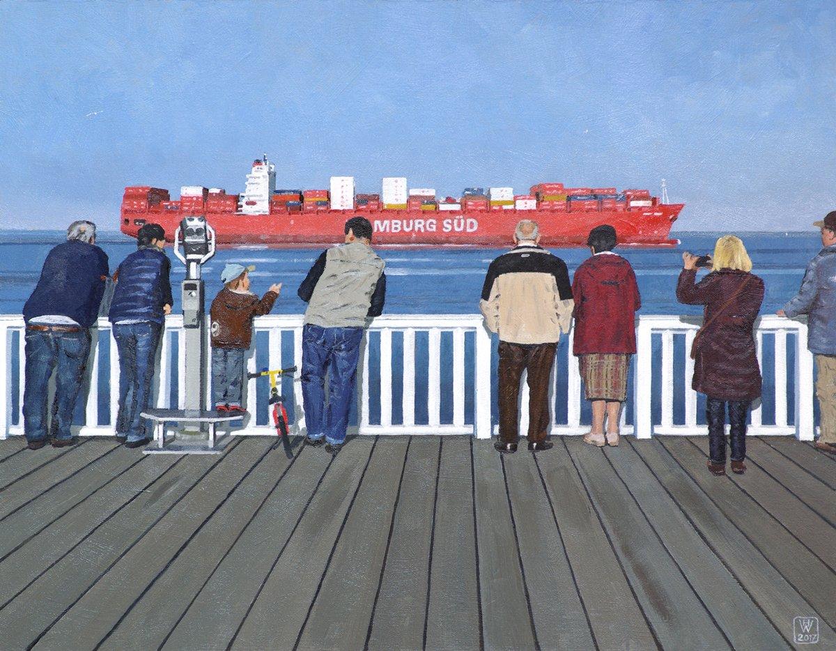 Alte Liebe, Cuxhaven - Öl auf Malplatte  37x47 cm  NFS