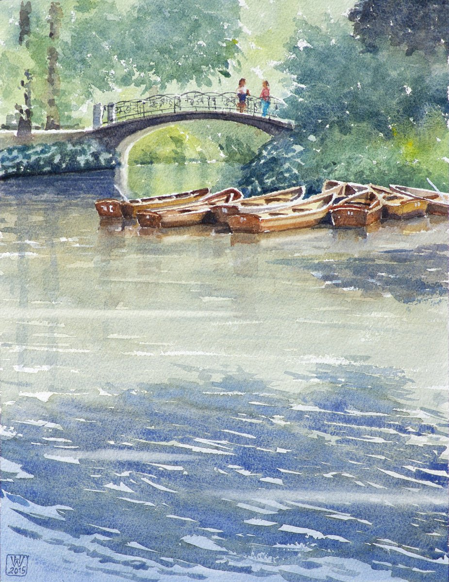 Boote an der Aselmeyerbrücke, Bremer Bürgerpark - Aquarell 42x33 cm  NFS