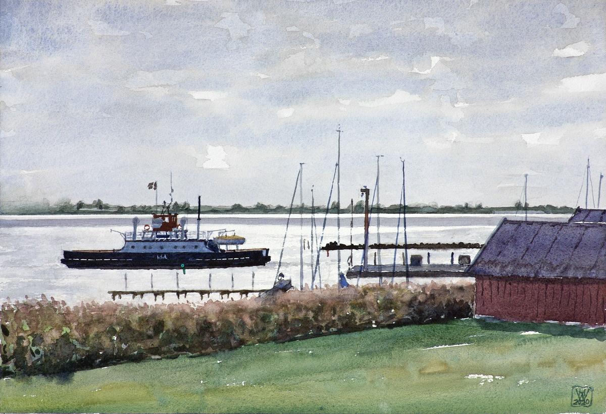 Fähre IDA nach Stubbekøbing (Dänemark) - Aquarell  26x38 cm