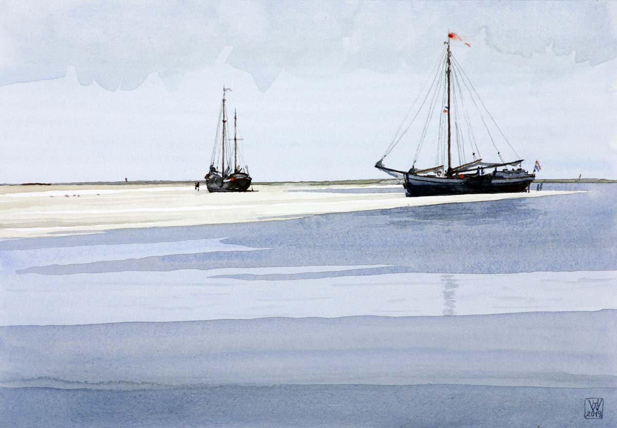 Sandbank Richel vor Vlieland (Niederlande)  -  Aquarell  26 x 38 cm  NFS