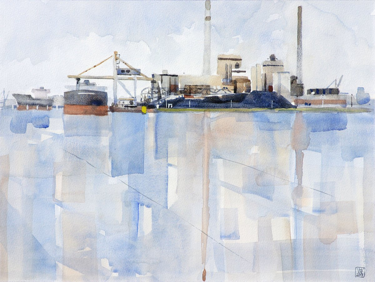 Kraftwerk Hafen Bremen - Aquarell  33x44 cm