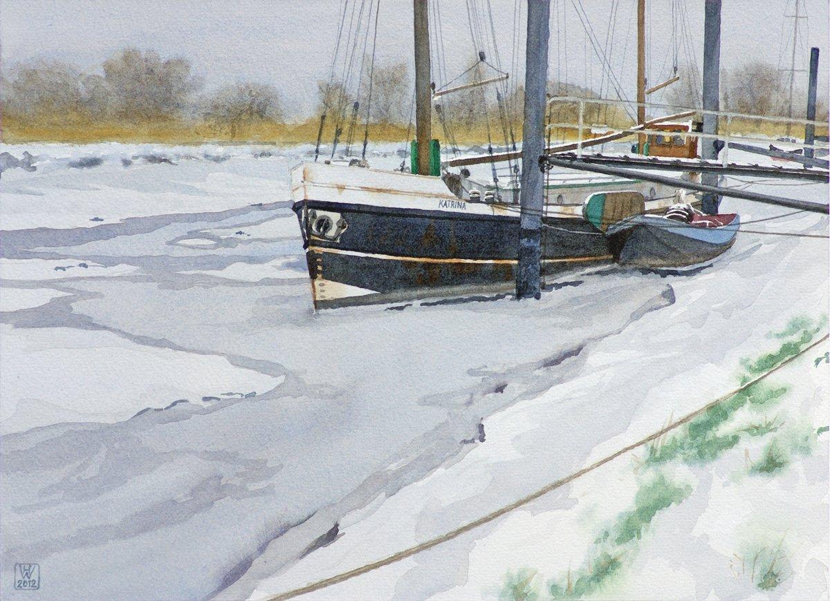 KATRINA im Eis, Wischhafen/Unterelbe - Aquarell  32x44 cm